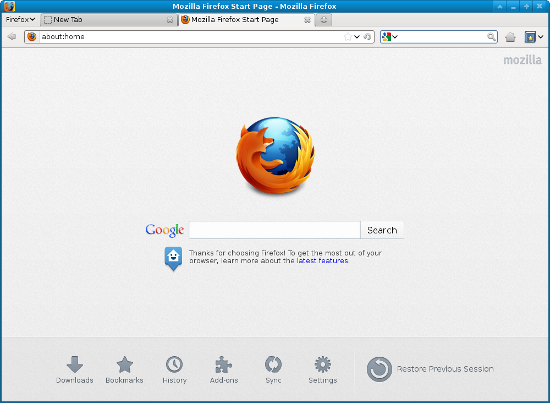 Firefox main interface
