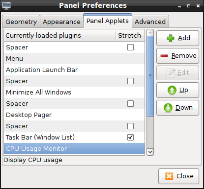 Panel preferences