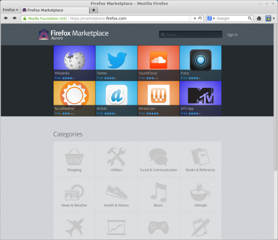 Firefox Marketplace, on Linux Mint, main