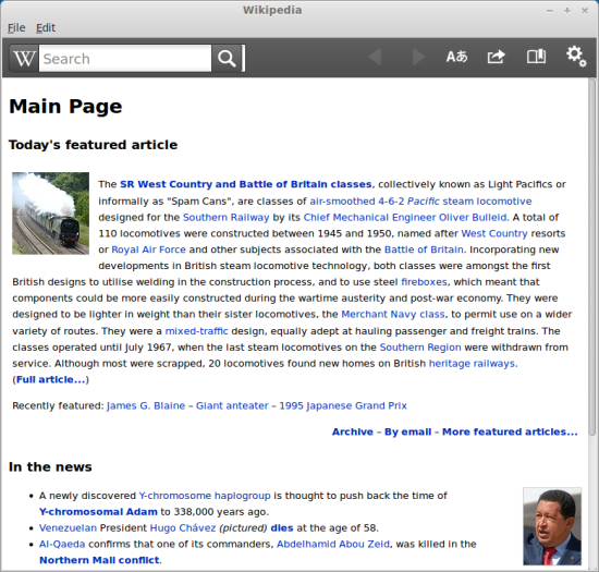 Wikipedia app working