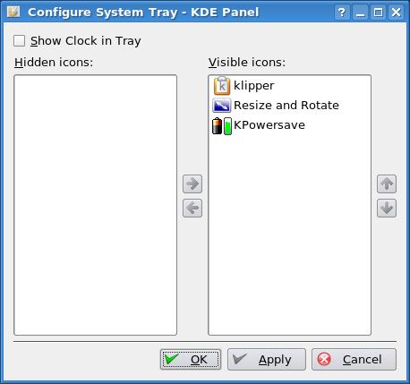 Configure systray