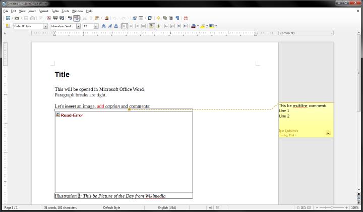 DOCX in LibreOffice, corrupt