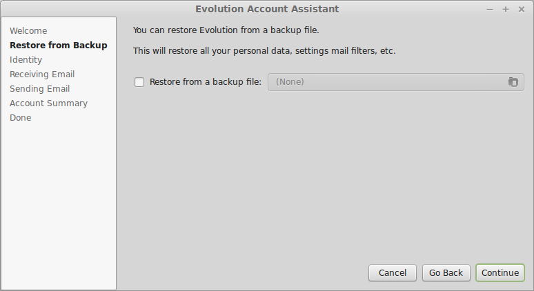 Evolution, restore account