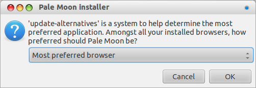 Pale Moon default browser question