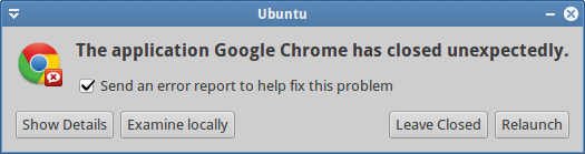 Chrome crashed